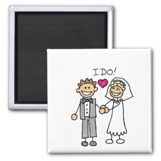 Bride and Groom Exchange Vows Save The Dates Square Magnet
