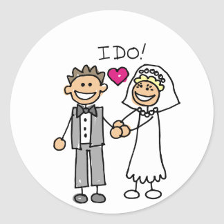 Bride and Groom Exchange vows Sticker