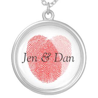 Bride And Groom Fingerprints Wedding Charm Round Pendant Necklace