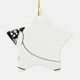 Bride and Groom Flowers Wedding Silhouette Ceramic Star Decoration