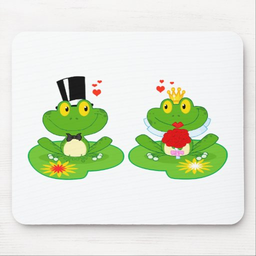 bride and groom froggy frogs mousepads