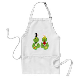 Bride and Groom Frogs Adult Apron