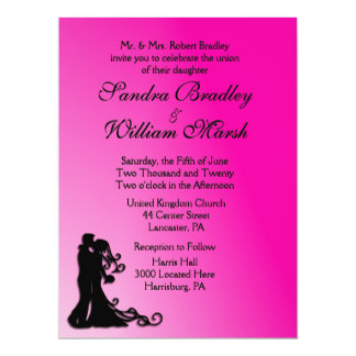 Bride and Groom Fuchsia 17 Cm X 22 Cm Invitation Card