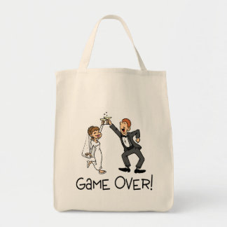 Bride and Groom Game Over Tote Bags