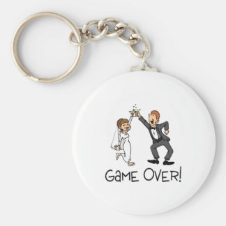Bride and Groom Game Over Basic Round Button Key Ring