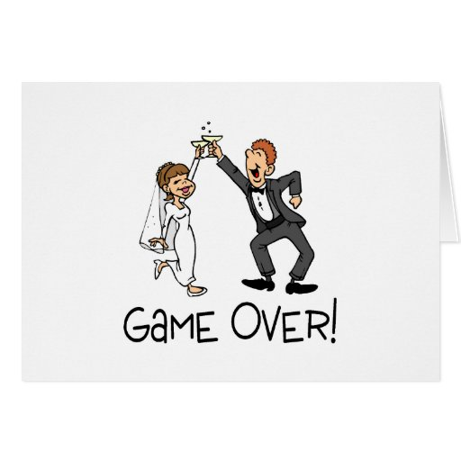 Bride and Groom Game Over Greeting Cards