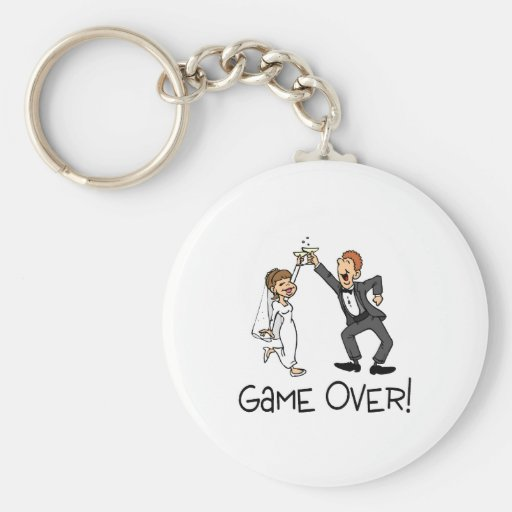 Bride and Groom Game Over Keychain