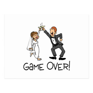 Bride and Groom Game Over Postcard