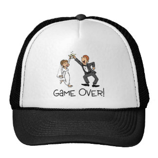 Bride and Groom Game Over Wedding Mesh Hats