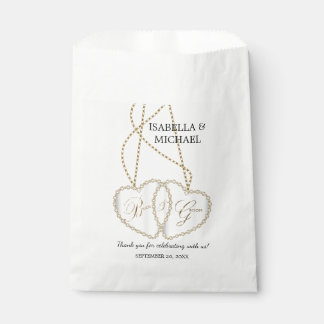Bride and Groom Heart Chain Favour Bags