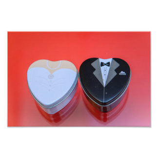 Bride and groom heart shaped candy cans photograph