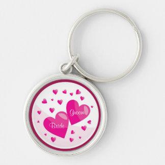 Bride and Groom Hearts Premium Key Chain
