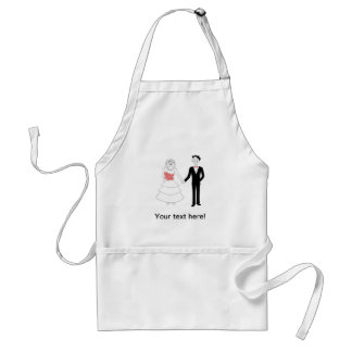 Bride and groom holding hands cartoon aprons