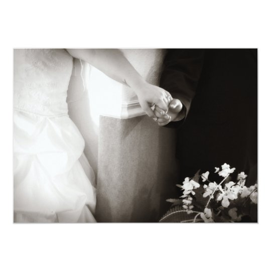 Bride and groom holding hands wedding invitation