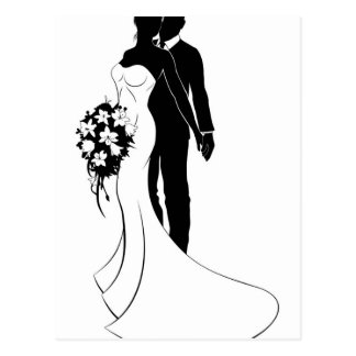 Bride and Groom Husband and Wife Wedding Silhouett Postcard