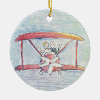 Bride and Groom in Airplane Christmas Ornament