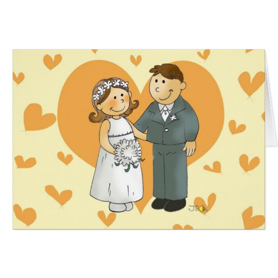 bride and groom in heart card