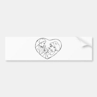 Bride And Groom Inside Heart Bumper Sticker