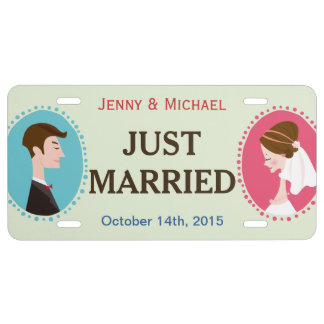 Bride and Groom Just Married - Personalized License Plate