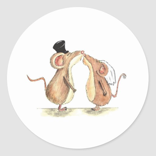Bride and Groom - Kissing Mice - Gift for Wedding Round Sticker