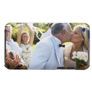 Bride and groom kissing wedding guests in iPod Case-Mate case