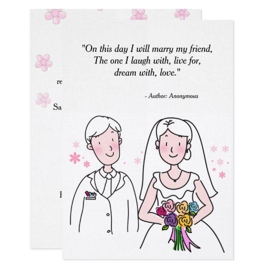 Bride and Groom Marry My Friend Wedding Card