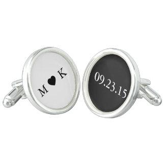 Bride and Groom Monogram - Black White Wedding Cuff Links