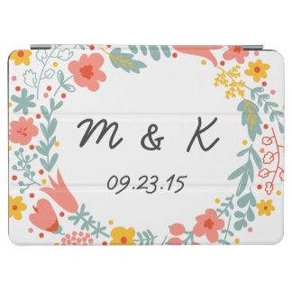 Bride and Groom Monogram - Custom Wedding Floral iPad Air Cover