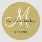 Bride And Groom Monogram Gold Glitter Classic Round Sticker