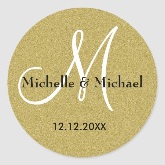 Bride And Groom Monogram Gold Glitter Classic Round