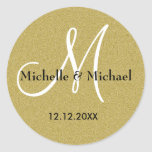 Bride And Groom Monogram Gold Glitter Round Sticker
