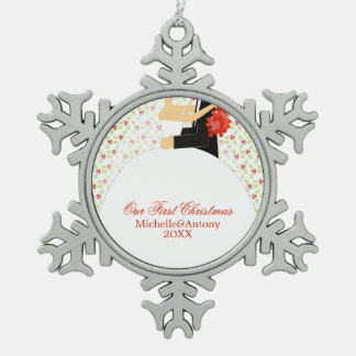 Bride and Groom Newlyweds First Christmas Pewter Snowflake Decoration