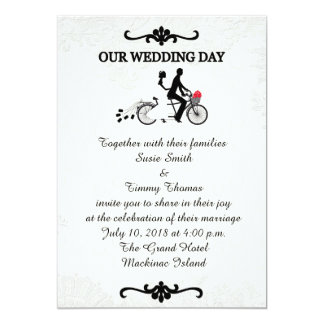Bride and Groom on Tandem Bicycle Wedding Invitati Card