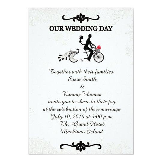 Bride and Groom on Tandem Bicycle Wedding Invitati