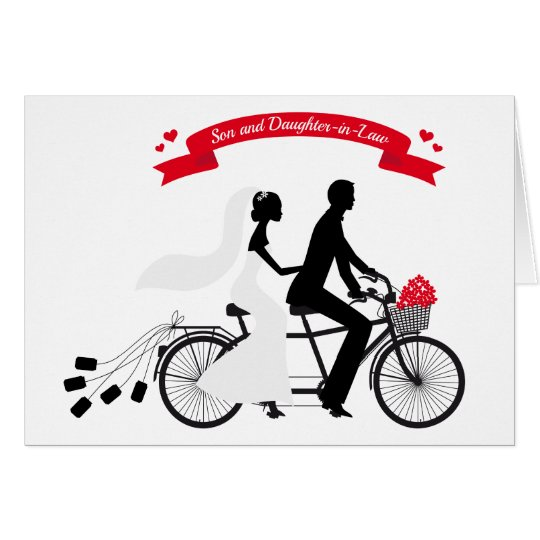 bride and groom on wedding bicycle card