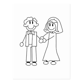 Bride and Groom Outline Postcard