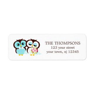 Bride and Groom Owls Wedding Return Address Label