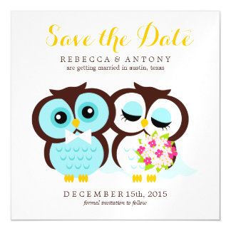 Bride and Groom Owls Wedding Save the Date Magnetic Invitations