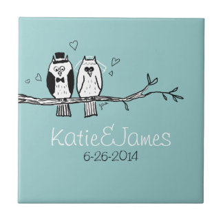 Bride and Groom Owls Wedding Small Square Tile
