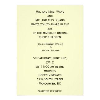 Bride and groom parents'  invitation, wedding invites