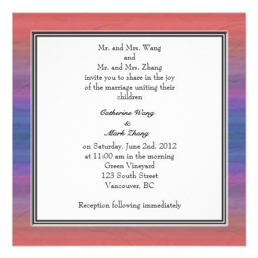 Bride and groom parents'  invitation, wedding invitations