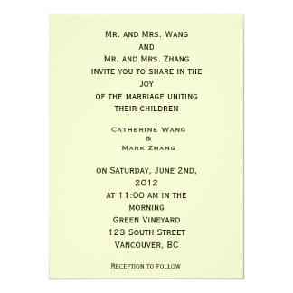 Bride and groom parents'  invitation, wedding 14 cm x 19 cm invitation card