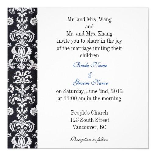 Bride and Groom parents, wedding invitation Custom Invitations
