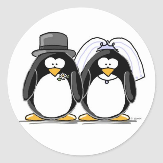 Bride and Groom Penguin Stickers