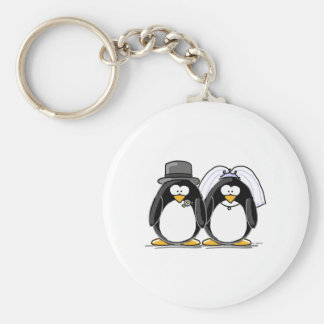 Bride and Groom Penguins Key Ring