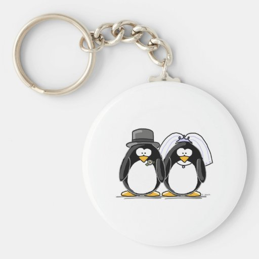 Bride and Groom Penguins Keychain