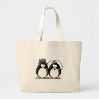 Bride and Groom Penguins Large Tote Bag