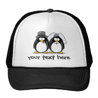 Bride and Groom Penguins with personalized text Cap