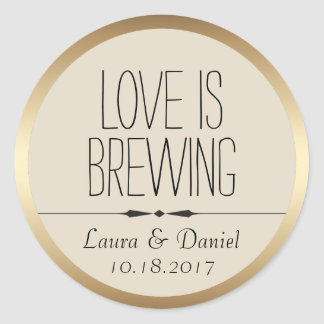 Bride and Groom Personalized Coffee Label Round Sticker
