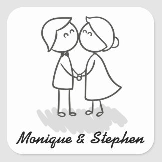 Bride And Groom Personalized Wedding Sticker